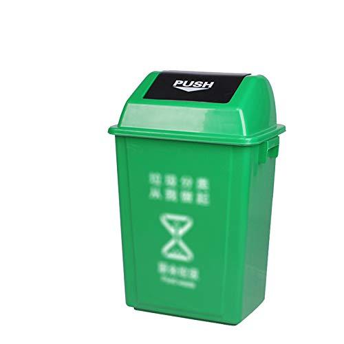 Chang-S-Q-123 Papeleras De Reciclaje De Basura De La Cocina, Papel De Basura De Plástico Interior Con Cubierta Home Hotel Office Office Washasket Bukbish Bin, 40l(Size:40L,Color:Verde)