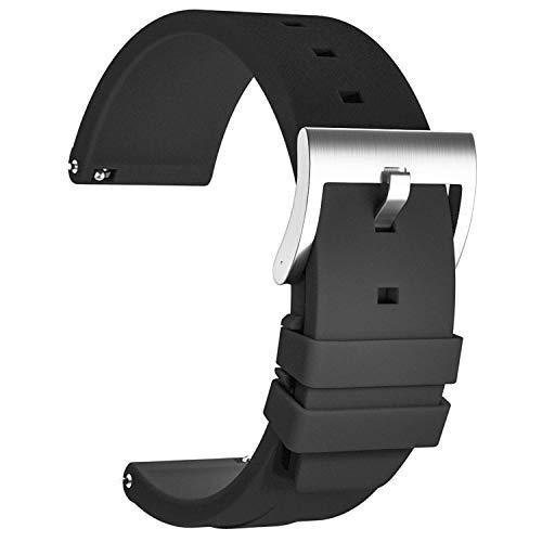Ullchro Correa Reloj Recambios Correa Relojes Caucho Suave Flexible Hombre Mujer - 18, 20, 22 Silicona Correa Reloj con Hebilla de Acero Inoxidable (22mm, Negro)