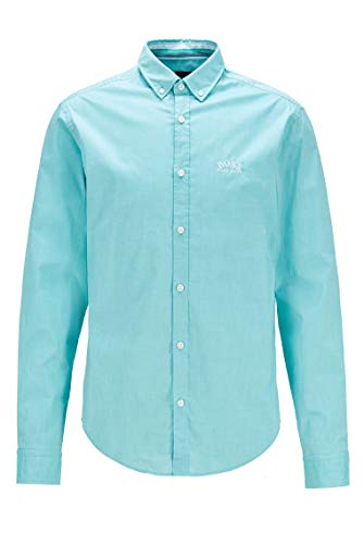 BOSS Herren BIADO R Regular-Fit Button-Down-Hemd aus elastischer Baumwoll-Popeline