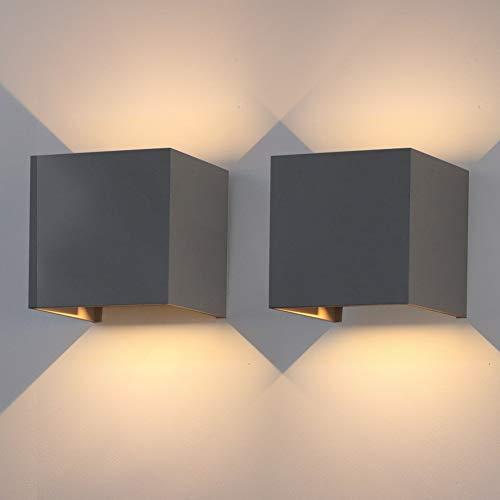 Klighten 2 Stück 12W LED Außenwandleuchten,IP 65,Effektleuchte Wandlampe mit verstellbarem Lichtstrahl,3000K Warmweiß,Dunkelgrau