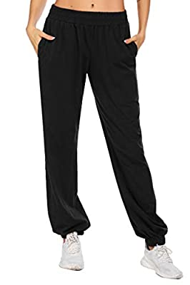 coorun Women's Sweatpants Active Workout Joggers High Waist Basic Lounge Pants with Pocket Loose Sporty Trousers Black