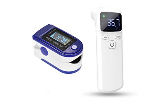 Anself Scanner per fronte senza contatto a infrarossi Display digitale LCD + mini TFT LCD per uso domestico Tester per ossigeno a punta di dito