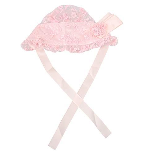 Fenical Baby Mädchen Haube Spitze Hut Kappen Taufe Motorhaube Säugling Prinzessin Sonnenhut Blume Motorhaube Foto Requisiten von 0-2 Jahren (Shrimp Pink)