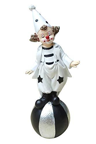 Oberle Dekofigur Clown auf Ball schwarz weiß 18cm Figur Karneval Köln Harlekin