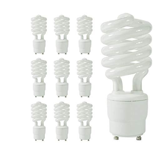 23 Watt CFL Light Bulbs | 5000K Daylight GU24 Base | 1600 Lumens 82 CRI 10000 Life Hours| EcoSmart Lights | 10 Pack by GoodBulb
