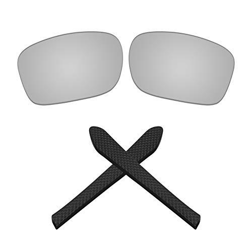 Montoz Lentes de repuesto y almohadillas para gafas de sol Oakley Jupiter Squared OO9135 (plateado cromo-polarizado)