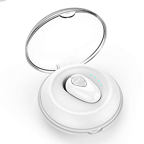 Wsaman Mini Auriculares Bluetooth, Auricular In-Ear Manos Libres Inalámbricos HiFi Estéreo con Estuche de Carga Cancelación de Ruido para Deportes/Oficina en Casa/Trabajo Earbuds,White + Charging Box