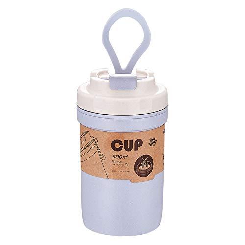 YONGQING Botella de agua fría de 500 ml Botella de agua portátil antiquemaduras de fibra de bambú doble sellado PP Material sopa botella con cuchara para al aire libre, hogar, escuela, oficina, viajes