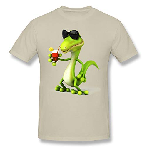 Cartoon Lizard with Sunglass Men Standard Tee Natural S