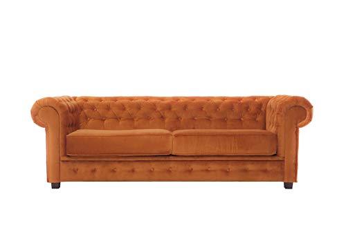 Chesterfield Sofa Garnitur 3-2-1 Set Couch Schlafsofa Schlaffunktion Bettkasten Sessel (Orange, ohne Schlaffunktion)