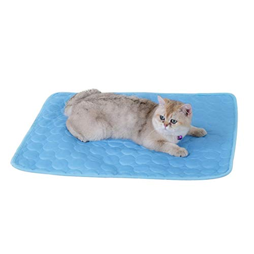 Portable Dog Cat's Cooling Bed Summer Cool Cushion Pet Cooling Mat Heat Relief Cooling Pad Chill Out Bed-Blue