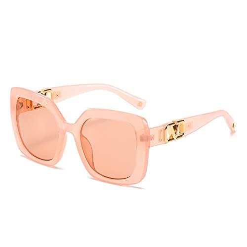 Gafas De Sol Gafas De Sol Cuadradas Unisex para Mujer, Gafas De Sol De Estilo A La Moda para Hombre, Gafas De Montura Grande De Gran Tamaño para Mujer, Leopardo Negro Uv400, Champán