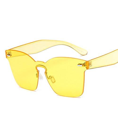 Wenkang Gafas de Sol cuadradas de Las Mujeres Gafas de Sol de Color Caramelo Remache sin Montura Gafas de Sol Top Plano Vintage Gafas de una Pieza,A8