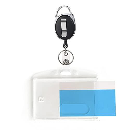 JeoPoom Llavero Retráctiles con Funda para Tarjeta, TarjeteroCara para Tarjetas de Ldentificación de Oficina, Funda de Tarjeta de Identificación, ID Titular de la Tarjeta