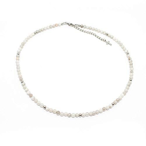 collana uomo girocollo Collana uomo con perle di agata bianca da 4 mm e perle acciaio