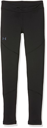 Under Armour Girls' ColdGear Leggings, Black (001)/Apollo Gray, Youth Medium