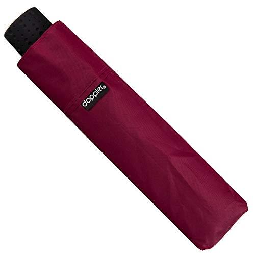 Doppler Fiber Havanna Ultra Light Taschenschirm sehr leichter Regenschirm 140 g 722363, Farbe:Bordeaux