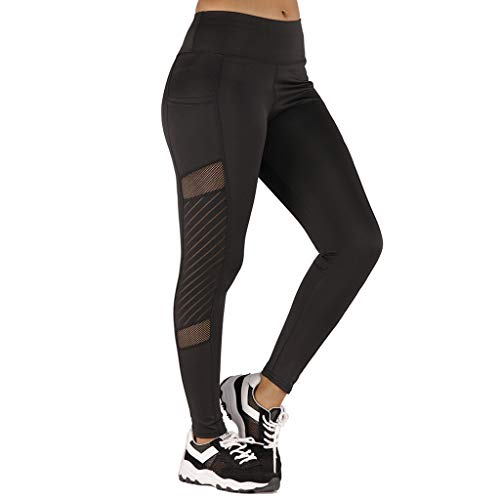 AMOUSTORE Women Yoga Pants, Solid Stretch Yoga Leggings Fitness Running Gym Sports Active Pants with Cellphone Pockets