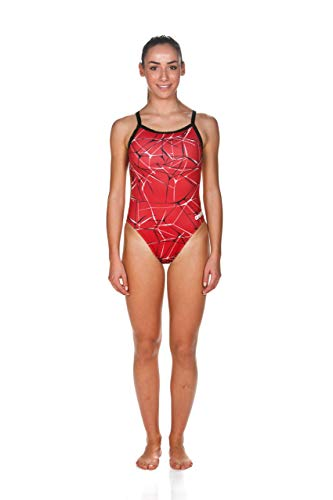 Arena Water Challenge Back MaxLife One Piece Swimsuit, Red - Black, 30