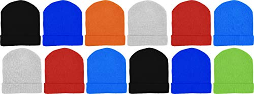 Kids Winter Beanies, 12 Pack Warm Cold Weather Hats Boys Girls Children (Assorted Solids #3)
