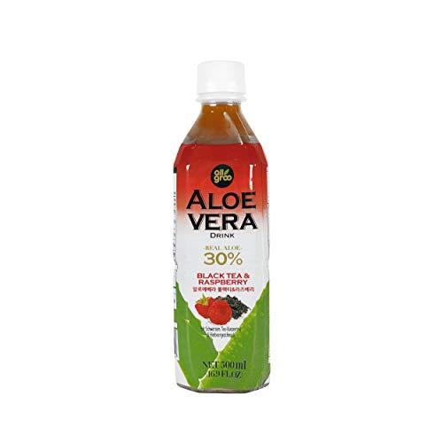Allgroo Aloe Vera Drink - Erfrischendes Aloe-Vera-Getränk aus Südkorea - Geschmacksrichtung: Schwarzer Tee und Himbeere mit Fruchtfleisch - Einwegpfand, Vorteilspack (12 x 500 ml)