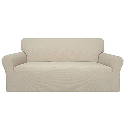 Easy-Going 100% impermeable funda de sofá, doble funda impermeable para sofá, funda de sofá jacquard elástica, protector de muebles a prueba de fugas para niños, mascotas, perro y gato (sofá, marfil)