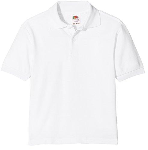Fruit of the Loom Jungen 65/35 Polo Kids Poloshirt, Weiß (White 000), 140 (Herstellergröße: 9-11)