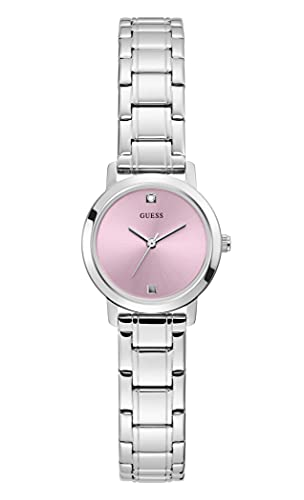 GUESS Women's Quartz Watch with Stainless Steel Strap, Silver, 12 (Model: GW0244L1)
