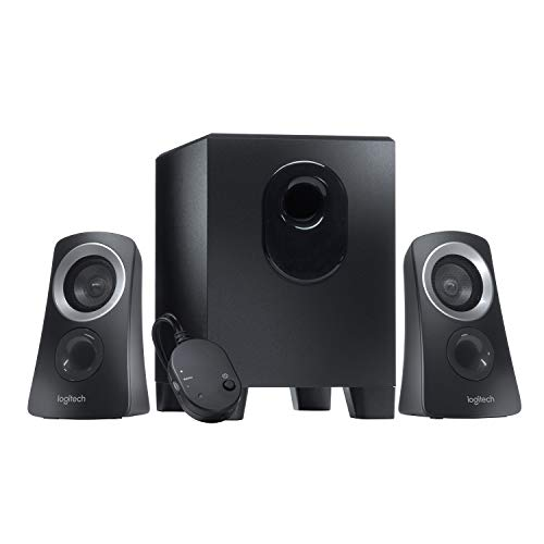 Logitech Z313 Sistema de Altavoces 2.1 con Subwoofer, Sonido Pleno, 50W de Pico, Graves Potentes, Entrada Audio 3.5 mm, Mando, Enchufe EU, PC/PS4/Xbox/TV/Smartphone/Tablet, Negro