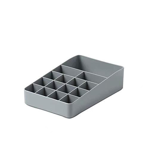 Cajones de caja de almacenamiento de cosméticos de escritorio Joyas ajustables Perfumes cosméticos Capas de soporte de exhibición Capas de caja de gran capacidad para el dormitorio-Un gris