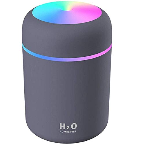 HOUFIL Mini Cool Mist Luftbefeuchter – Ultraschall-Luftbefeuchter mit 300 ml Wassertank, flüsterleiser Betrieb, Nachtlicht und automatische Abschaltung (schwarz)