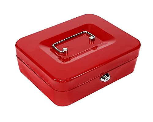 Kippen 10033R3 - Caja de caudales roja, medidas: 250 x 180 x 90 mm