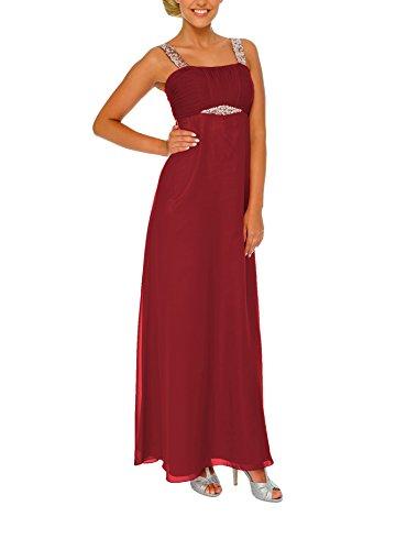 Astrapahl Damen Cocktail Kleid mit Pailletten, Maxi, Einfarbig, Gr. 38, Rot