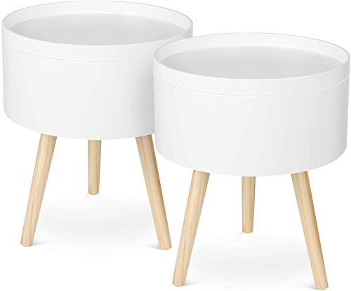 HOMFA Coffee Table Side Table Furniture Round Storage Serving Tray Wood White 38 * 38 * 46cm (2 Set)