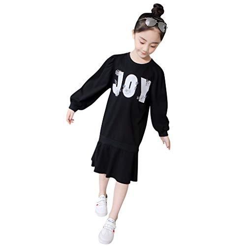 Julhold tiener kinderen meisjes mode eenvoudige lange mouw brief breider breien Falbala gezamenlijke prinses katoen jurk 3-13 jaar