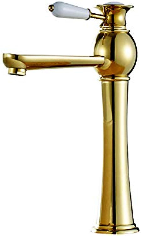 YHSGY Waschtischarmaturen Goldener Wasserhahn Alles Kupfer über Gegenbecken Wasserhahn Becken Heien Und Kalten Wasserhahn