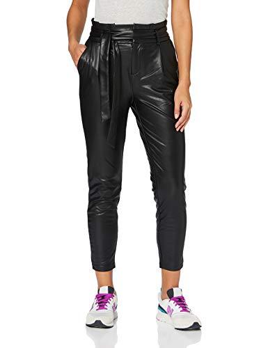 ONLY Damen ONLPOPTRASH YO PU Easy Paperbag PNT Hose, Black, S/32