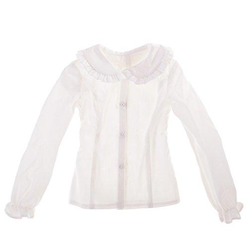 Blesiya Mooi Poppenhemd, Blouse met Pofmouwen, Poppenkleertjes voor 1/3 BJD Poppenaccessoires - Wit, zoals beschreven