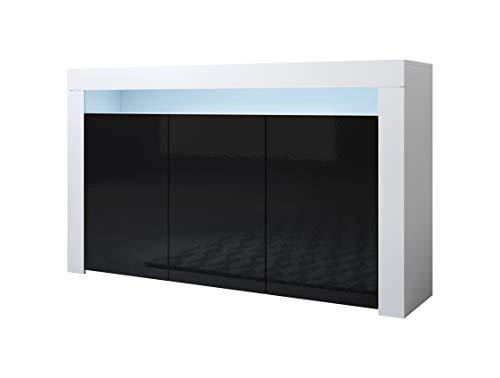 Muebles Bonitos | Aparador Moderno Aker | Ancho 155 x Alto 91,5 x Profundo 37 cm | Mueble de Melamina Brillo | Color Blanco y Negro