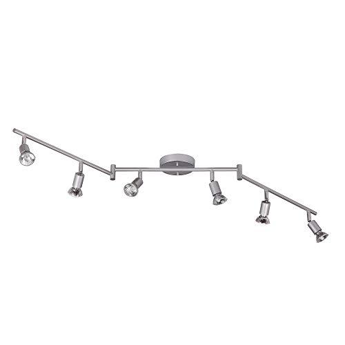 Globe Electric 59351 Payton 6-Light Foldable Track Lighting, Matte Silver