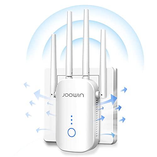 JOOWIN WLAN Verstärker Repeater 1200Mbit/s (2,4GHz & 5GHz) Dualband Wireless Signal, WiFi Extender Kompatibel Repeater/Router/AP/Client mit LAN/WAN Port, Easy Setup WiFi Booster
