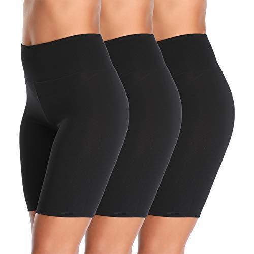 Cotton Spandex Stretch Anti Chafing Boy Shorts Safety Panty Bike Shorts,Slip Shorts for Under Dresses (Black, 3 Pack, XX-Large)