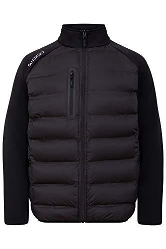 Sundried Mens Hybrid-Sport-beiläufige Mantel Puffer Gesteppte All Seasons Jacke (Schwarz, Medium)
