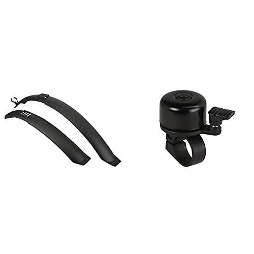 FISCHER Erwachsene Set Spritzschutz, Schwarz, 24-26 & Mini Fahrradglocke, schwarz, One Size