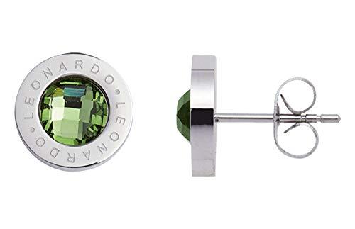 Jewels by Leonardo Damen-Ohrstecker Silber mit grünen Glasstein I Ohrring klein  aus Edelstahl mit Gravur