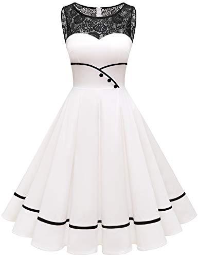 Bbonlinedress schwarzes Kleid Damen cocktailkleid Damen Rockabilly Kleider Damen Kleider Hochzeit Abendkleider lang Geschenk für Frauen Petticoat Kleid Ivory S