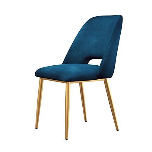 Sillas de cocina modernas sillas laterales de comedor, tela cojín respaldo para cocina, comedor, sala de lectura, color azul