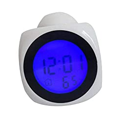 Home Decor Multifunction Vibe LCD Talking Projection Alarm Clock Time & Temp Display - (Color:White)