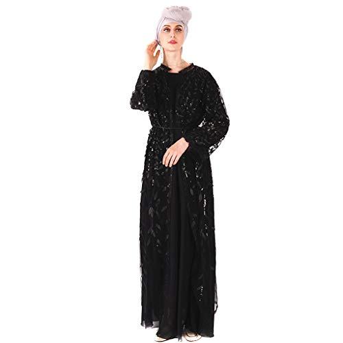WUDUBE Mode Frauen Muslimische Robe, Muslimische Frauen Tragen Islamische Lange Ärmel Länge Abaya Robe Arabisches Kostüm