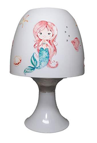 ✿ Tischlampe Kinder Mädchen ✿ Meerjungfrau Mermaid 3 Mädchen Schwanzflosse ✿ Schlummerlicht ✿ Nachttischlampe rothaarig türkis